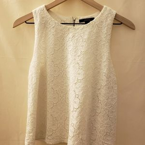 S Forever 21 Lace Crop Tank Top White